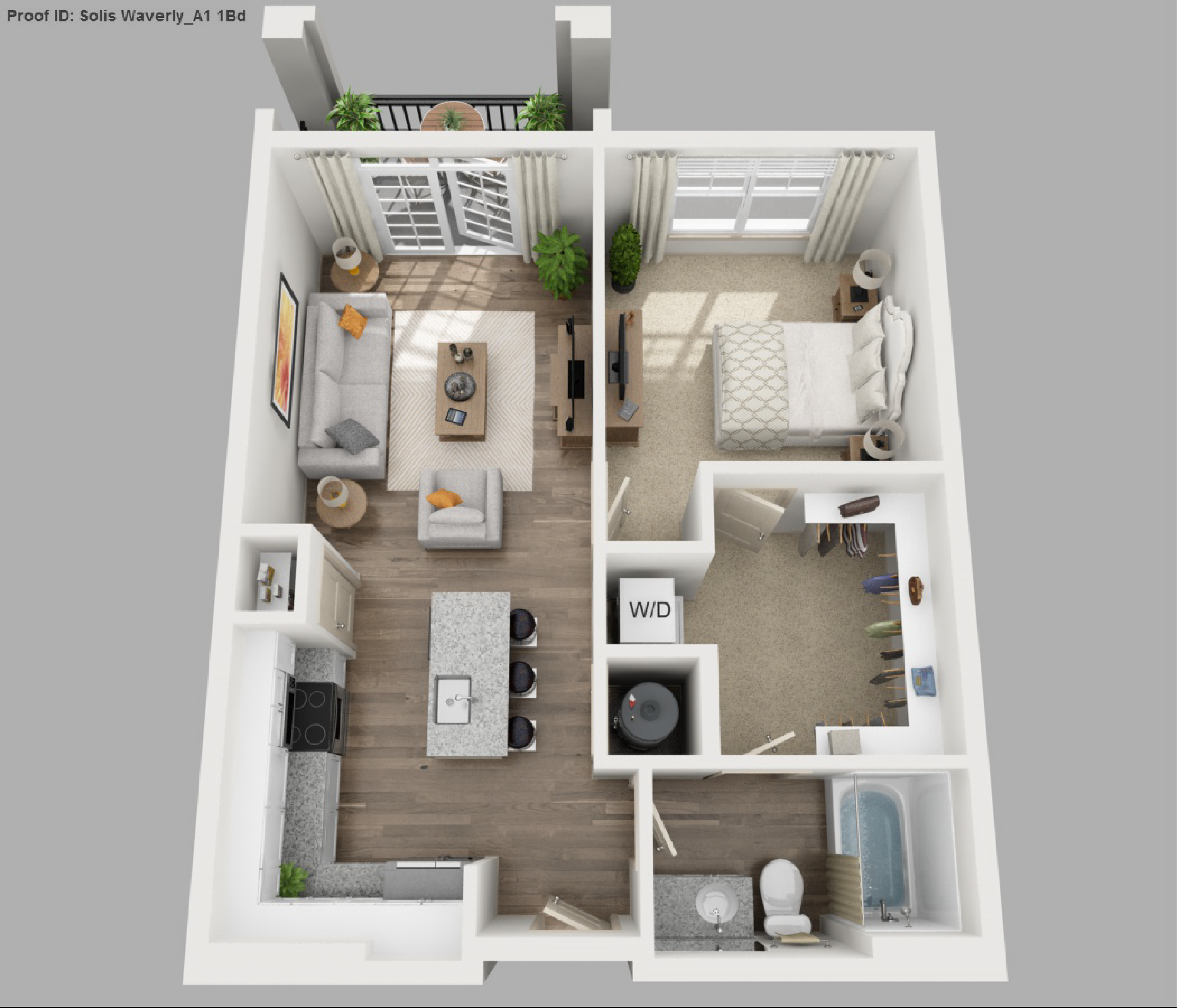 Solis apartments floorplans waverly for One bedroom apartment designs plans
