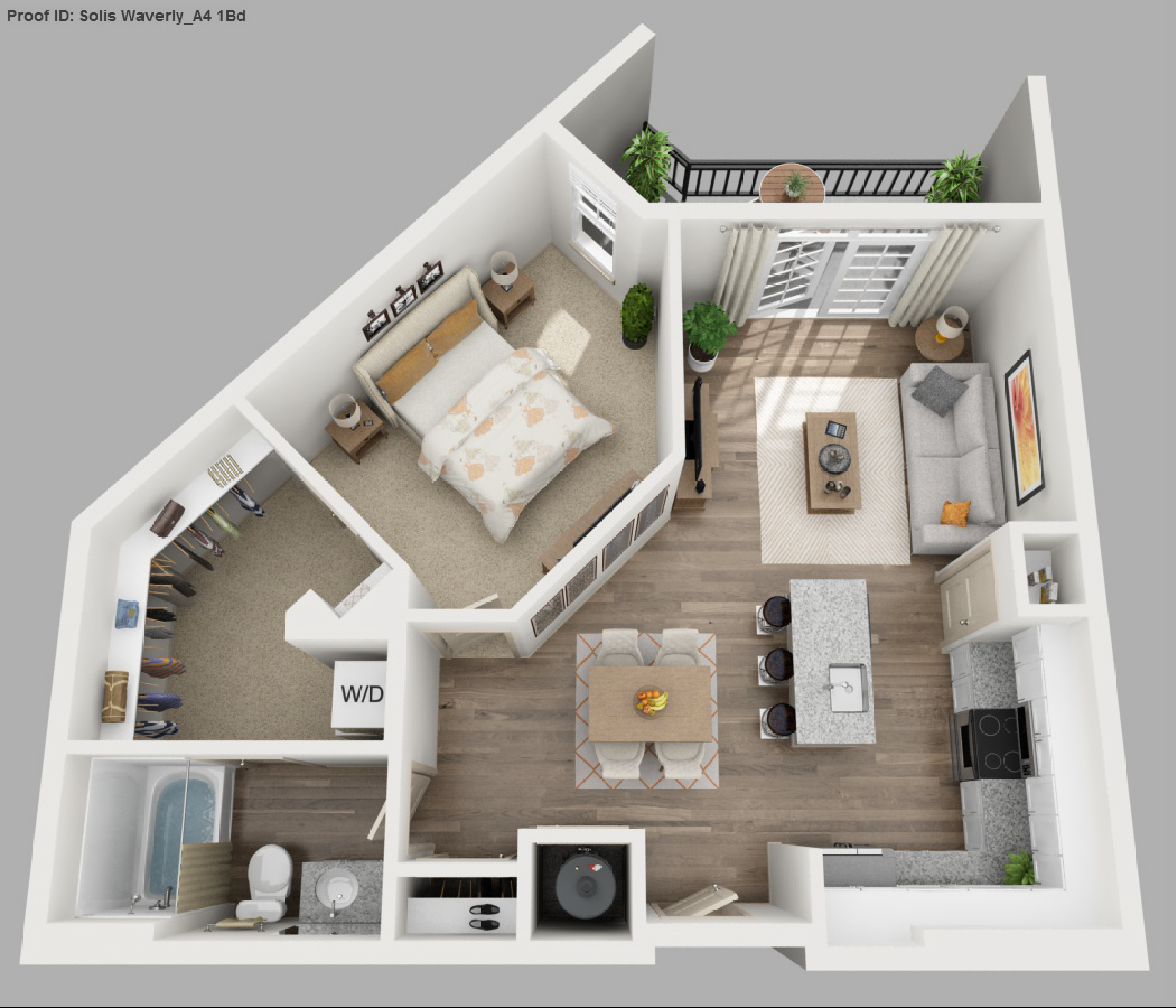 Solis apartments floorplans waverly for Apartment one bedroom design