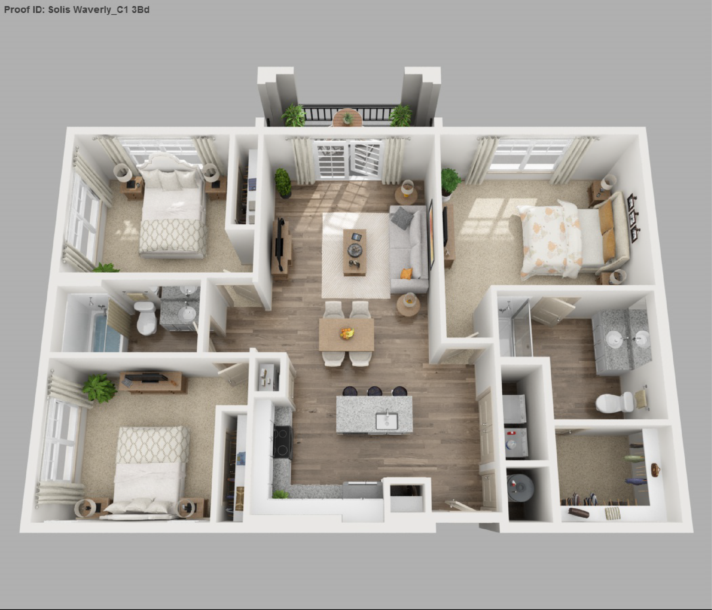 Solis apartments floorplans waverly for Three bed